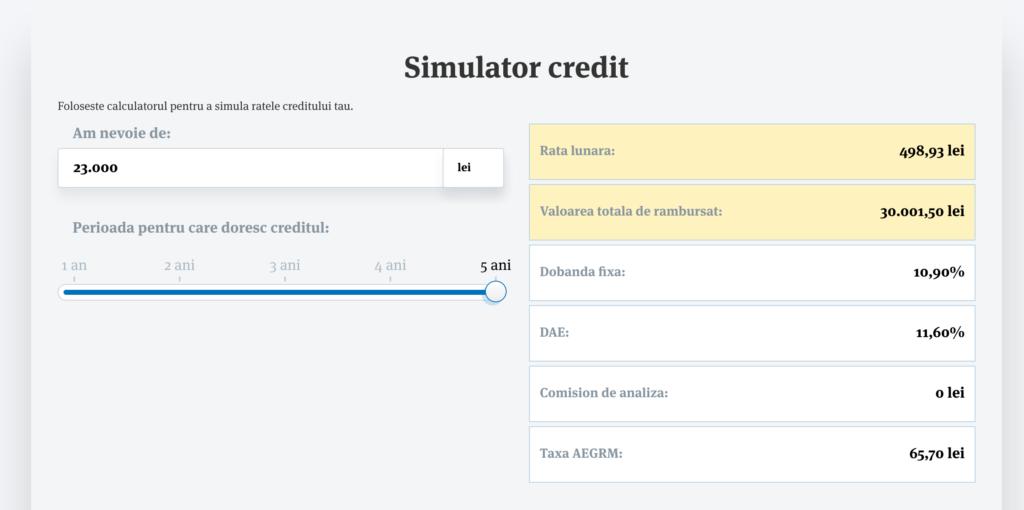 Simulator credite nevoi personale bt